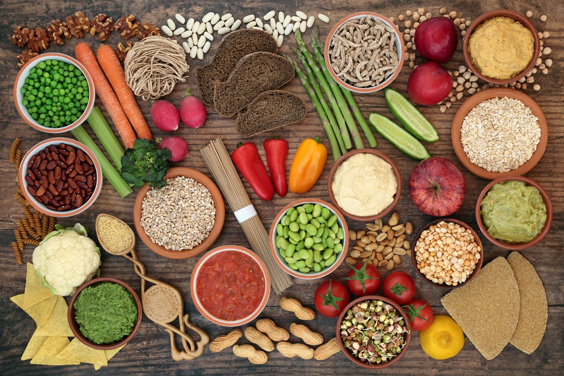 Food against cancer plant based healthy diet food. High in antioxidants, vitamins, anthocyanins, minerals, protein, fibre, omega 3 and smart carbs. Health care concept. Prevent cancer. Vegan diet.
