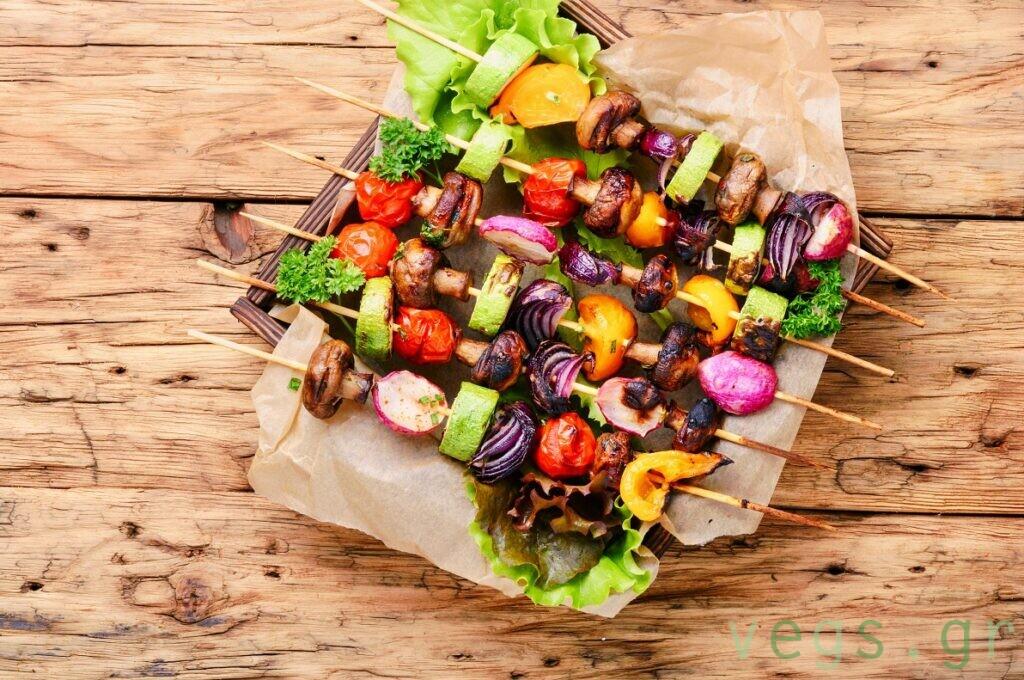 Vegetables grilled skewers. Vegan mushroom ssouvlaki